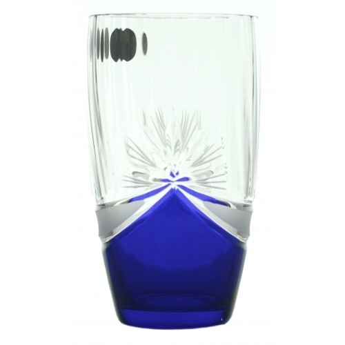 Set Sklenička 6x, barva čiré sklo - bezolovnaté, modrý dekor, objem 350 ml