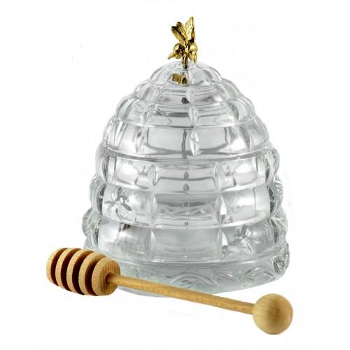 Dóza na med, barva čirý kříštál, průměr 118 mm