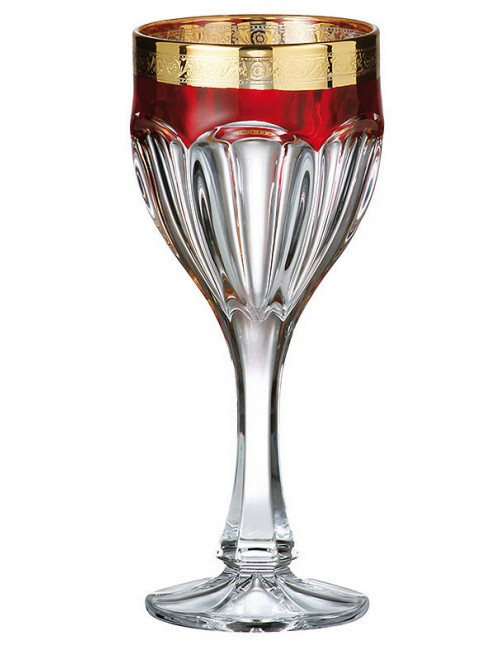 Set Sklenice na víno Safari rubín - zlato 6x, bezolovnatý crystalite, objem 190 ml