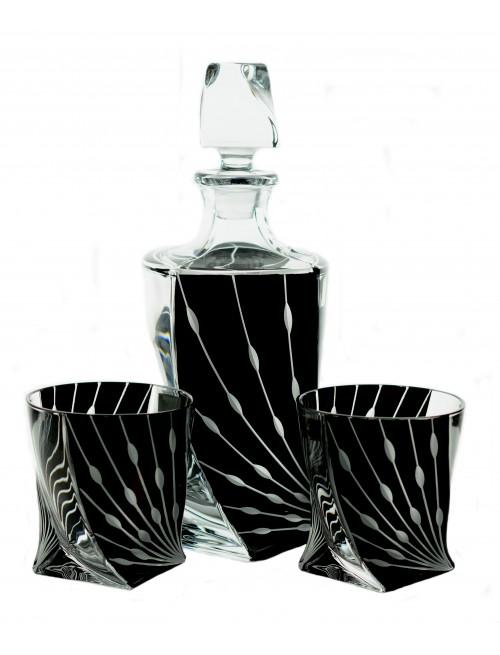 Set Whisky 1+6, Bezolovnatý crystalite, dekor černá