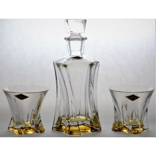 Set Whisky Cooper amber, bezolovnatý crystalite, 1+2