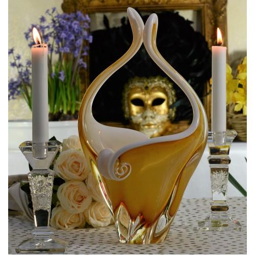 Košík hutní sklo, barva amber - opál, výška 350 mm