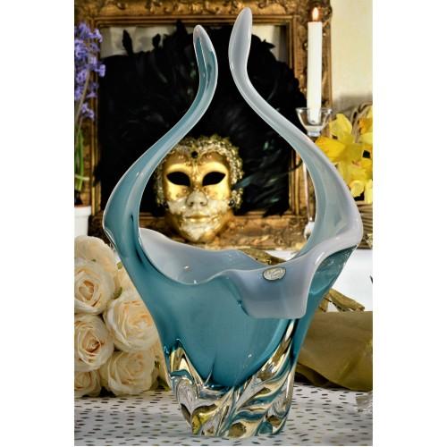 Košík hutní sklo, barva azurová - opál, výška 350 mm