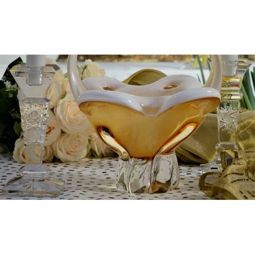 Košík hutní sklo, barva amber - opál, výška 340 mm