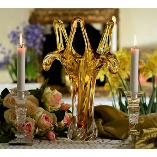 Váza hutní sklo, barva amber, výška 380 mm