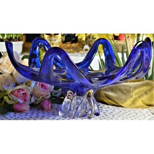 Mísa hutní sklo, barva modrá, průměr 400 mm
