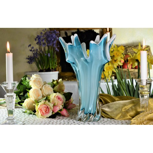 Váza hutní sklo, barva azurová - opál, výška 320 mm