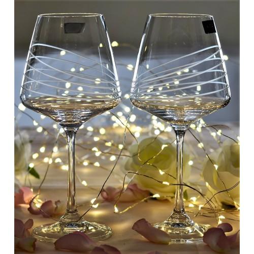 Set Sklenice na víno Naomi 2x, čiré sklo - bezolovnaté, dekorované, objem 360 ml