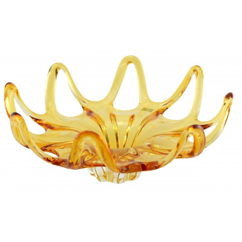 Mísa hutní sklo, barva amber, průměr 370 mm