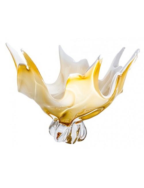 Mísa hutní sklo, barva amber - opál, průměr 380 mm