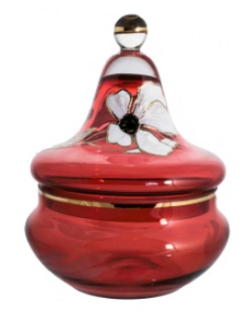 Dóza Květ, barva rubín, výška 180 mm