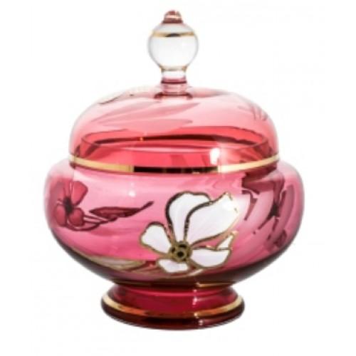 Dóza Květ, barva rubín, výška 175 mm