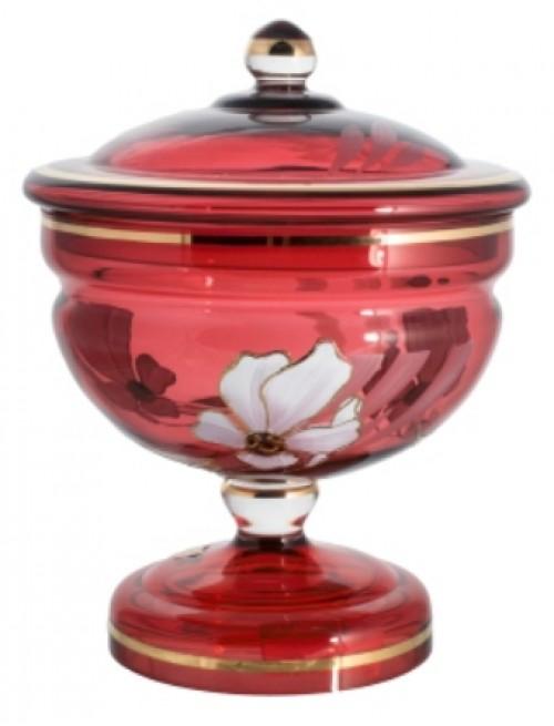 Dóza Květ, barva rubín, výška 215 mm