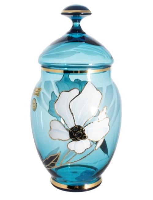 Dóza Květ, barva azurová, výška 200 mm