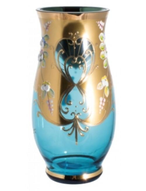 Váza, vysoký smalt, barva azurová, výška 200 mm