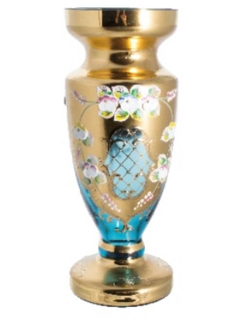 Váza, vysoký smalt, barva azurová, výška 210 mm
