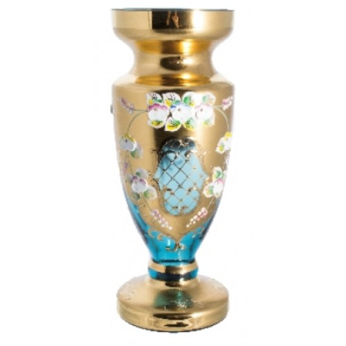 Váza, vysoký smalt II, barva azurová, výška 400 mm