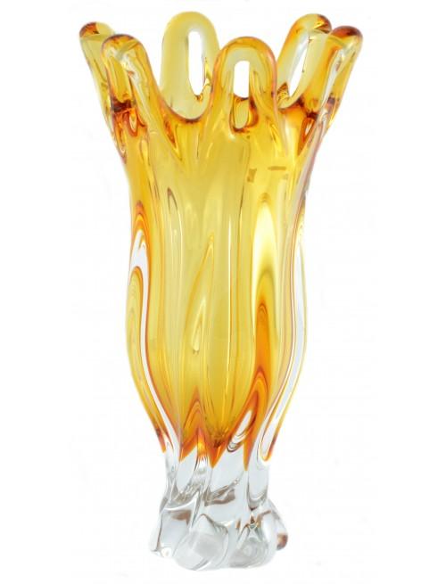 Váza hutní sklo, barva amber, výška 350 mm