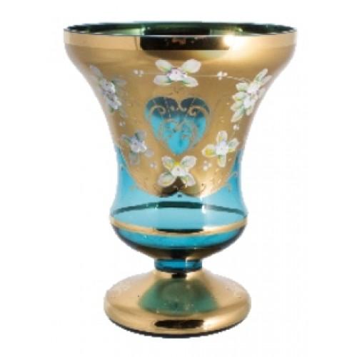 Váza, vysoký smalt, barva azurová, výška 205 mm