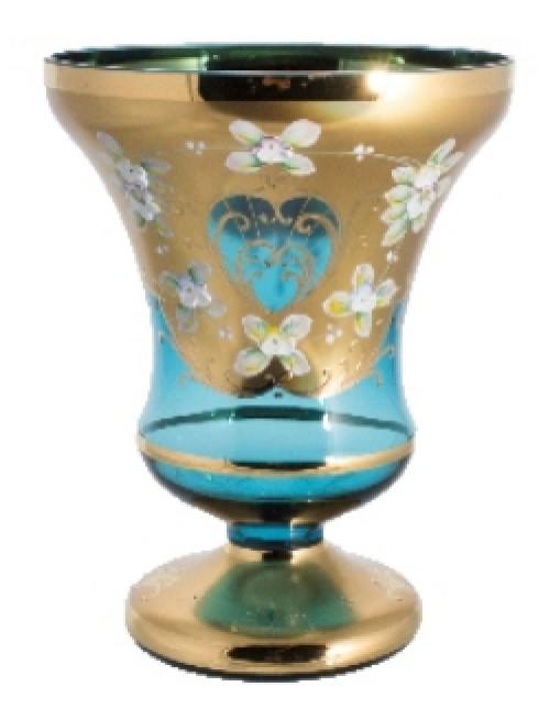 Váza, vysoký smalt, barva azurová, výška 255 mm