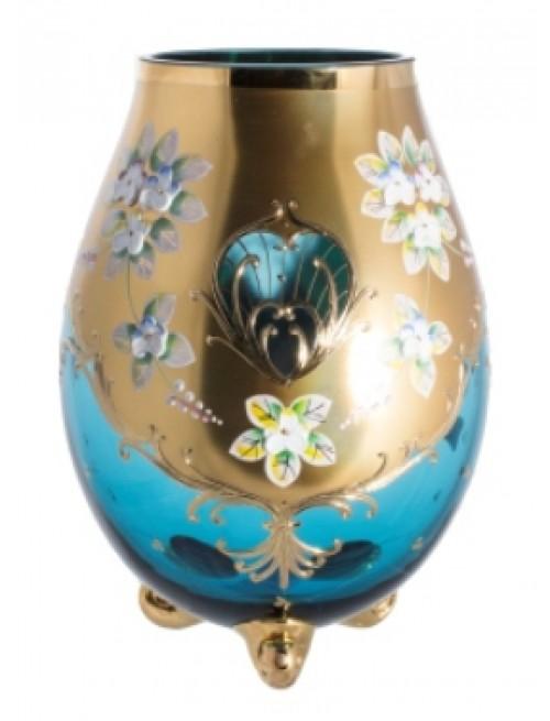 Váza, vysoký smalt II, barva azurová, výška 210 mm