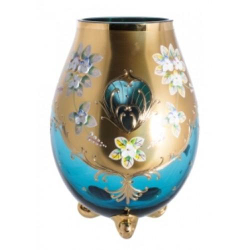 Váza, vysoký smalt, barva azurová, výška 260 mm