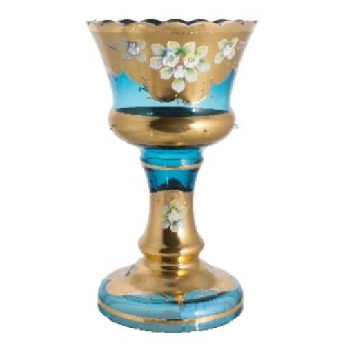 Váza, vysoký smalt II, barva azurová, výška 310 mm