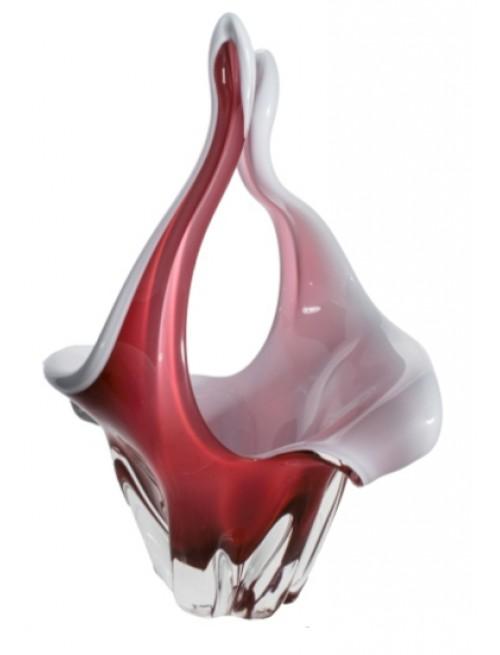 Košík hutní sklo, barva rubín - opál, výška 350 mm