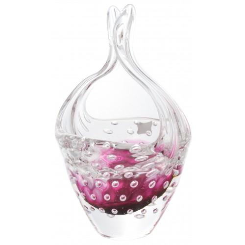 Košík hutní sklo, barva rubín, výška 230 mm