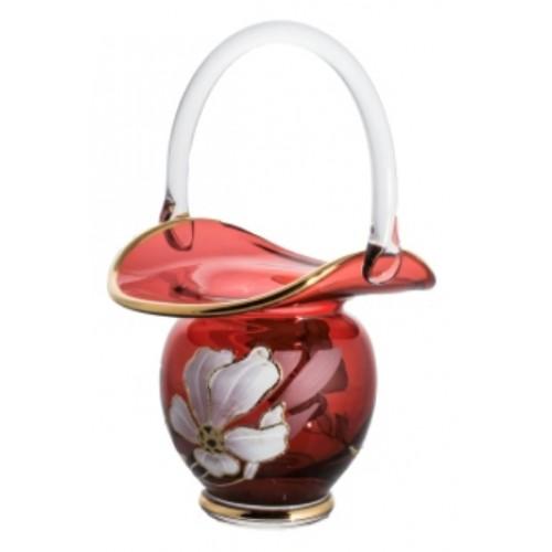 Koš Květ, barva rubín, výška 150 mm