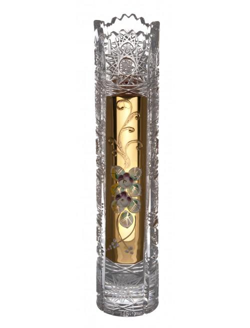 Váza 500K Zlato V, barva čirý křišťál, výška 255 mm