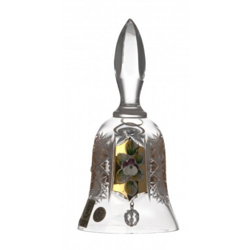Zvonek 500K zlato, barva čirý křišťál, výška 126 mm