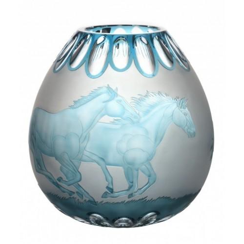Váza  Koně, barva azurová, výška 280 mm