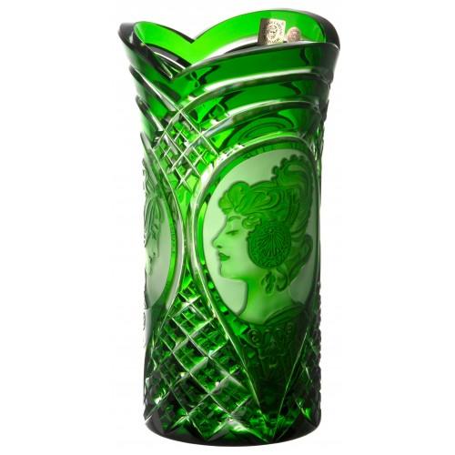 Váza Mucha, barva zelená, výška 210 mm