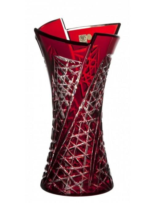 Váza Fan, barva rubín, výška 305 mm