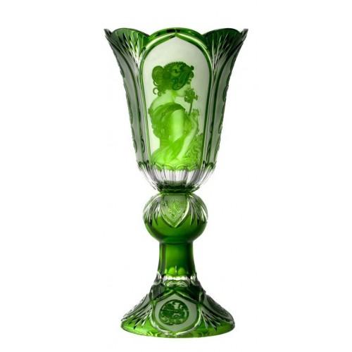 Váza Mucha, barva zelená, výška 505 mm