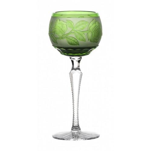 Sklenice na víno Růže, barva zelená, objem 190 ml