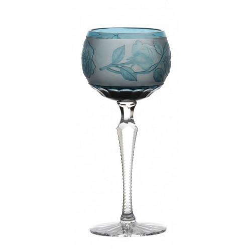 Sklenice na víno Růže, barva azurová, objem 190 ml