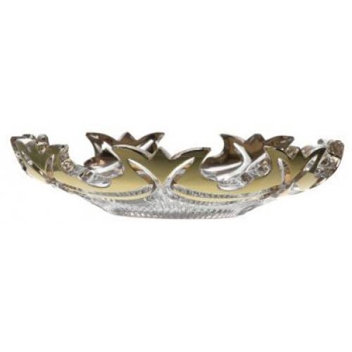 Talířek Diadem zlato, barva čirý křišťál, průměr 145 mm