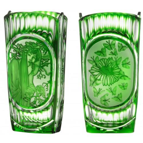Váza Mucha, barva zelená, výška 255 mm