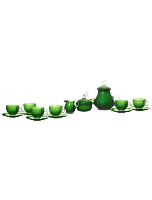 Set 17-dílná čajová souprava kuličky mat, barva zelená