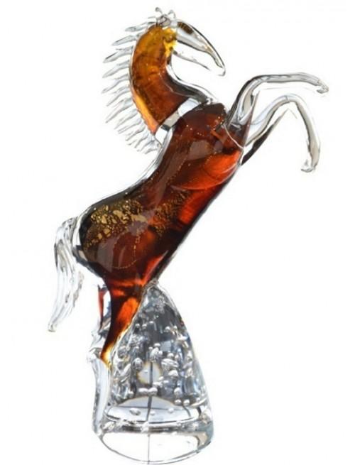 Kůň stojící hutní sklo, výška 340 mm