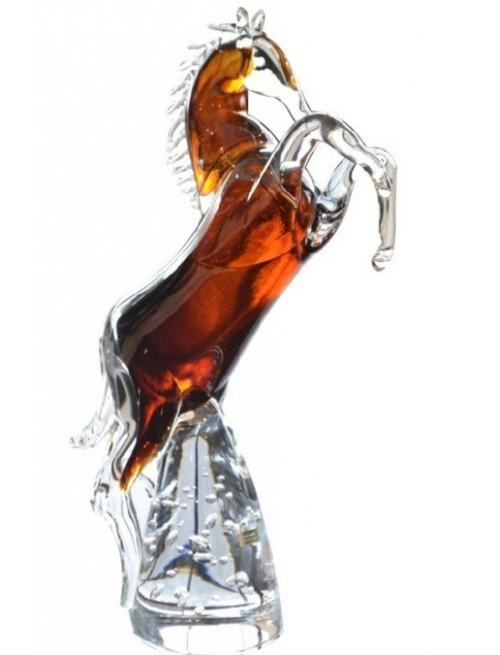 Kůň stojící hutní sklo, výška 360 mm