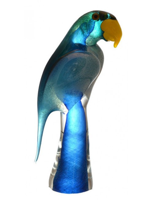 Papoušek hutní sklo, výška 290 mm