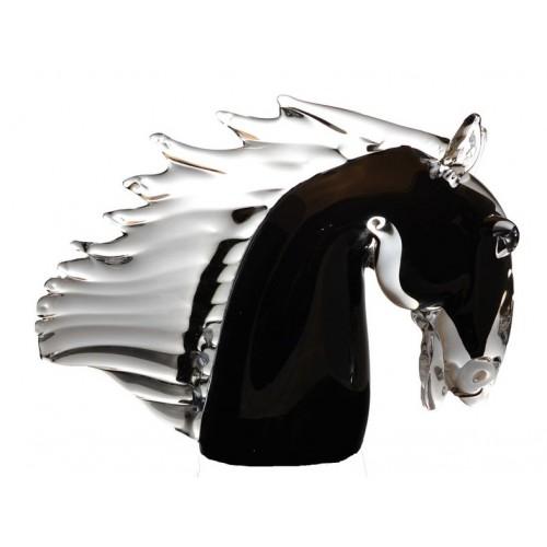 Hlava koně hutní sklo, výška 220 mm