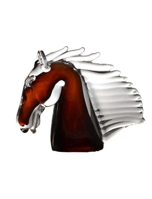 Hlava koně malá, hutní sklo, výška 190 mm