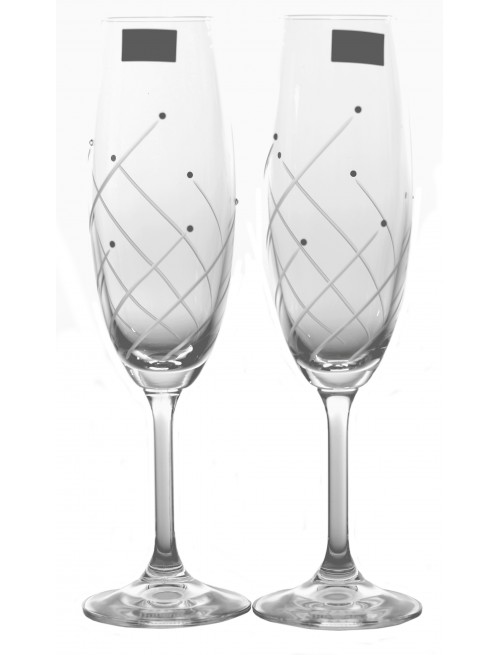 Set Sklenice na víno Klára 2x, čiré sklo - bezolovnaté, dekorované, objem 220 ml
