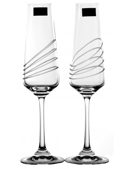 Set Sklenice na víno Naomi 2x, čiré sklo - bezolovnaté, dekorované, objem 160 ml