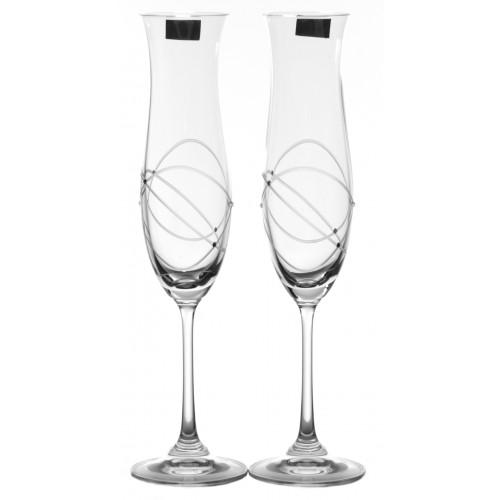 Set Sklenice na víno Ellen 2x, čiré sklo - bezolovnaté, dekorované, objem 200 ml