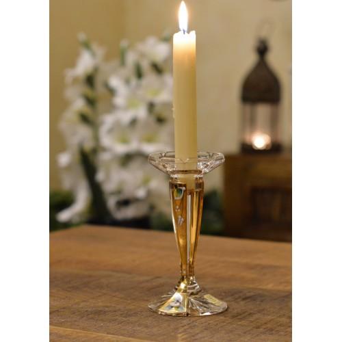 Svícen  Florance zlato, barva čirý křišťál, výška 160 mm